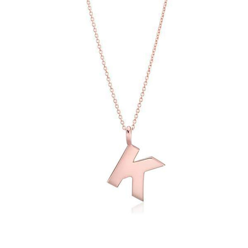 Delicate Initial Necklace 14K Rose Gold