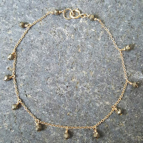 Tiny Pyrite Bracelet Gold Filled