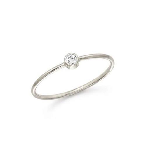 Bezel Diamond Classic Anniversary Diamond 14 Karat White Gold