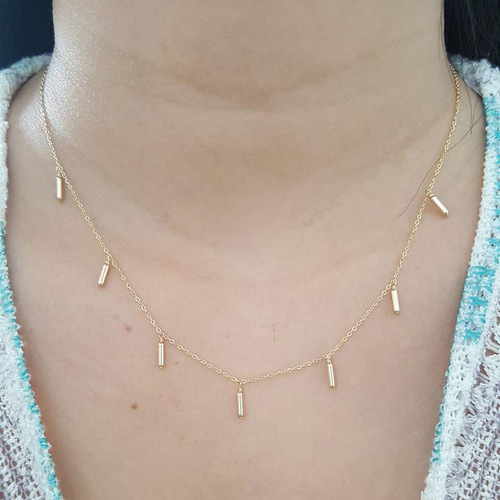 Tiny Tube Necklace 14K Gold Filled