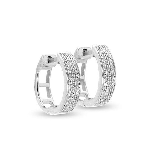 Diamond Hoop Earring 14KW