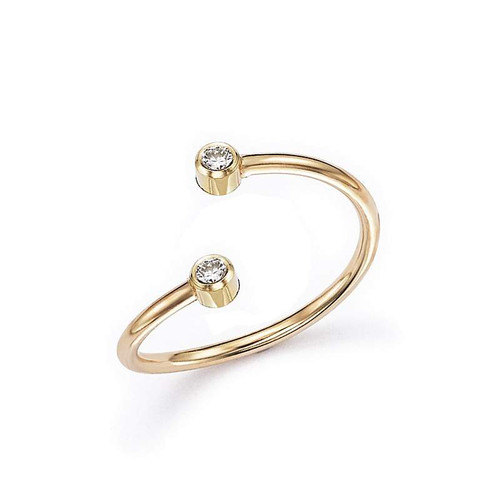 Two Bezel Diamond Anniversary Ring 14K Gold