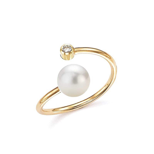 Freshwater Open Pearl Bezel Set Diamond Ring 14KY Gold