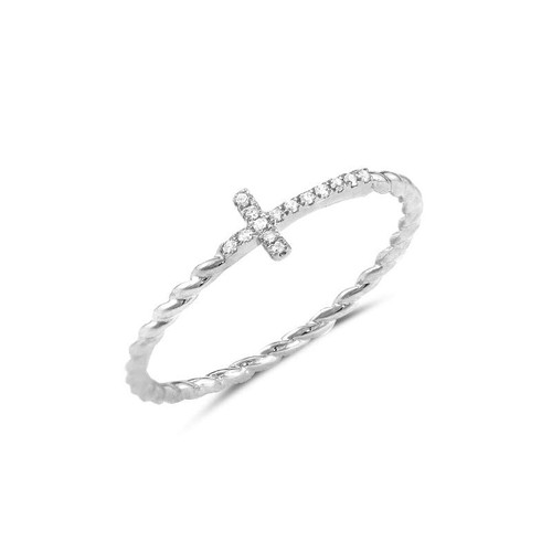 Diamond Cross Twist Ring 14KW Gold