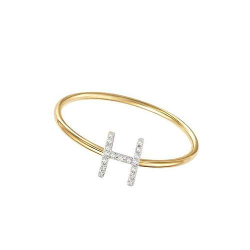 Diamond Initial Ring 14KY
