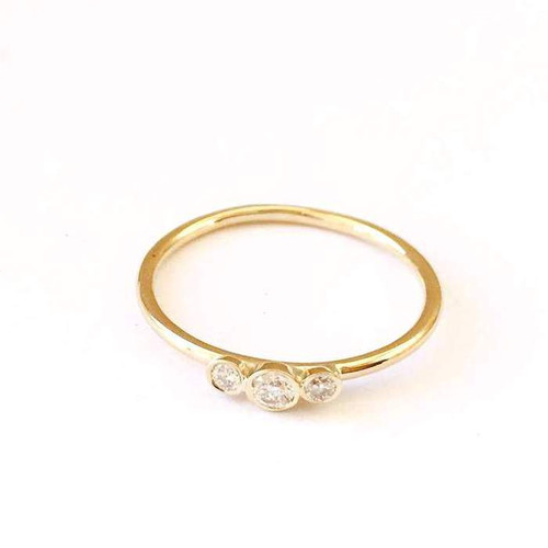 Three Diamonds Engagement Ring 14K Yellow Gold