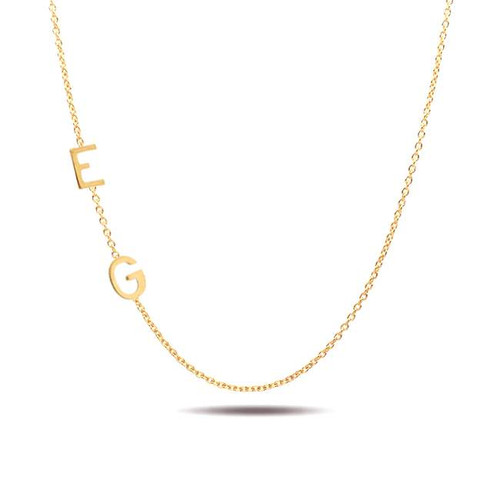 Sideways Two Block Initial Necklace 14K Yellow Gold