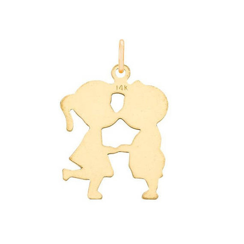 Kissing Charm 14K Yellow Gold For Necklace