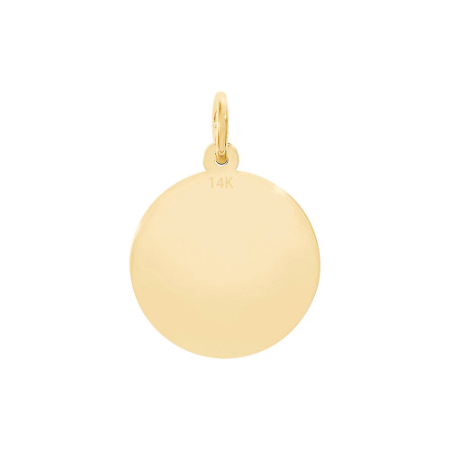 14KY Solid Gold Necklace Disc Charm For Necklace