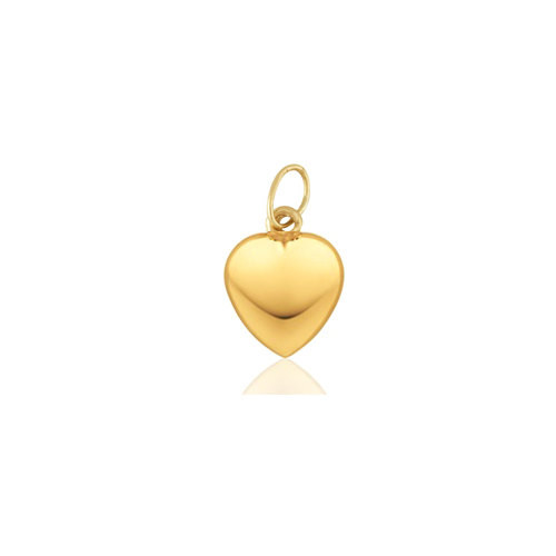 14K Yellow Gold Puffy Heart Charm