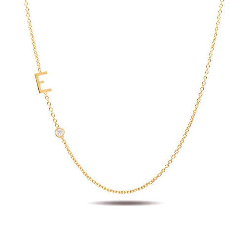 14ky Gold Initial and Bezel Diamond Necklace