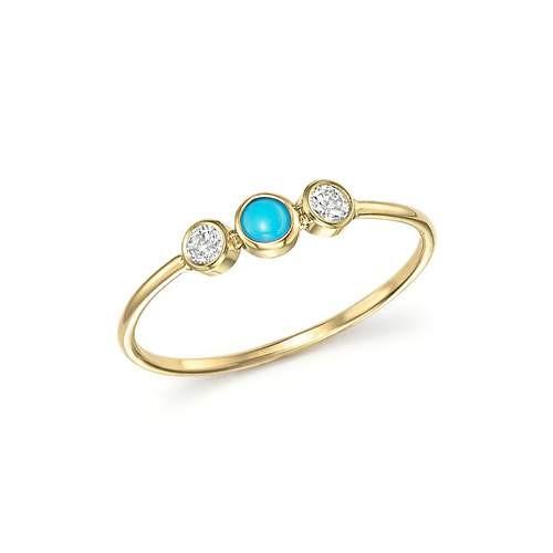 Triple Bezel Set Diamonds and Turquoise Ring 14K Yellow Gold