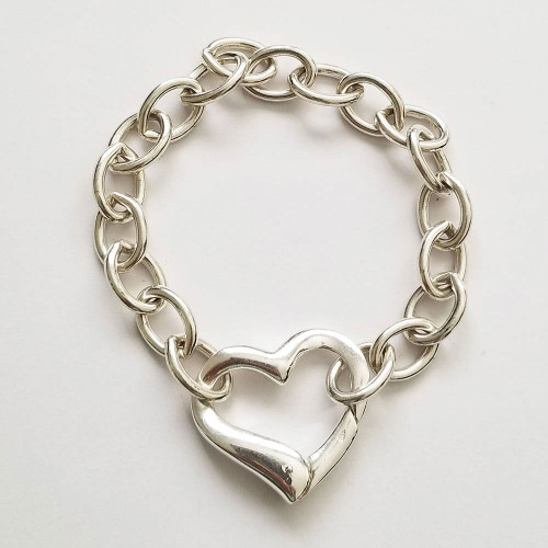 925 Sterling Silver Big heart bracelet