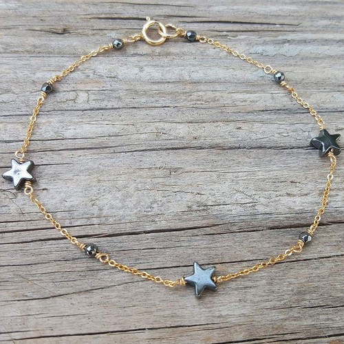 black hematine star bracelet