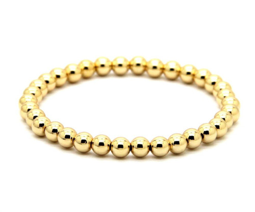 Classic bead stretch bracelet 14k yellow gold