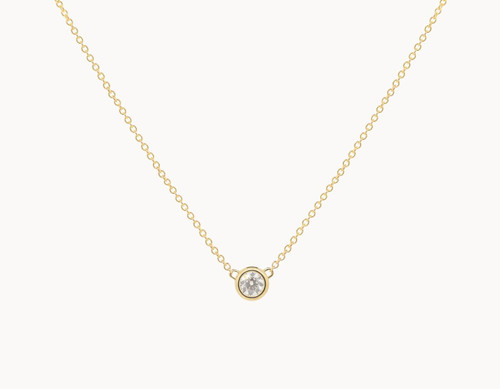 Round Diamonds Bezel Set Solitaire Necklaces 14K Gold