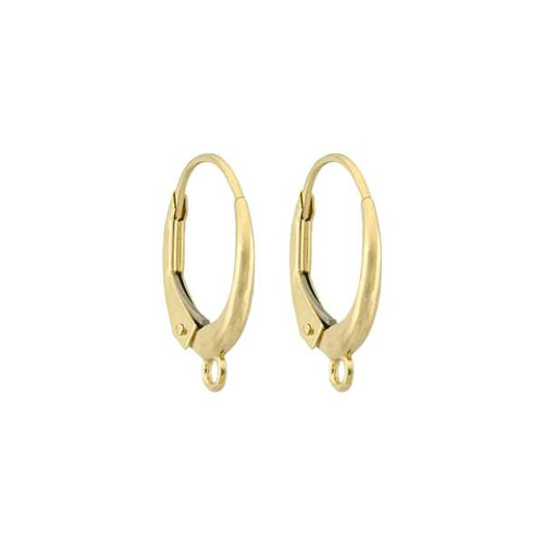 14K Gold Plain Lever Back Wire with Closed Ring