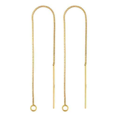 14K Yellow Solid Gold Ear Threader Earring