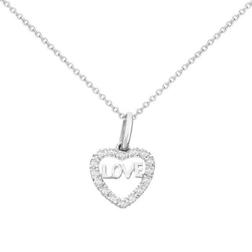 Diamond Heart Necklace 14K White Gold