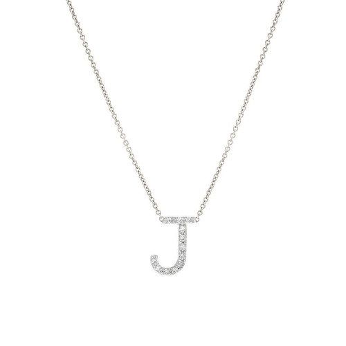 Diamond Letter Necklace 14K  White Gold