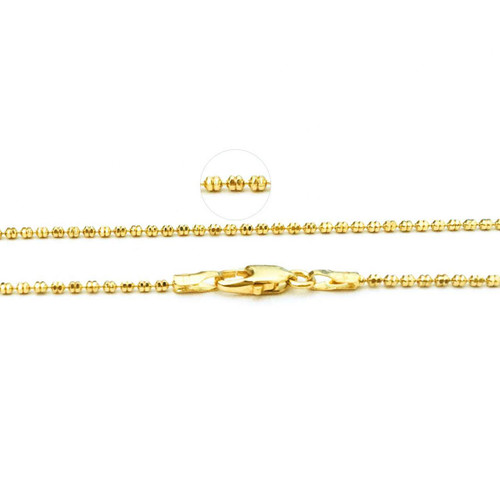 14K Yellow Gold Diamond Cut Double Bead Chains