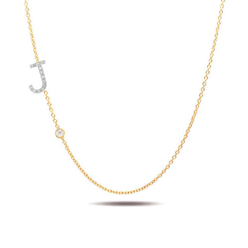 14k gold diamond initial and bezel diamond necklace