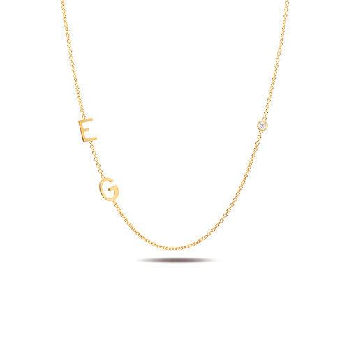 14K yellow gold sideways two initials and diamond bezel necklace