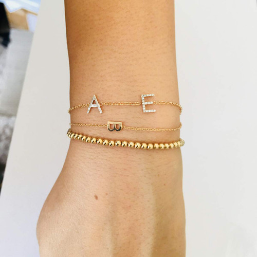 Two diamond initials bracelet in 14K Gold