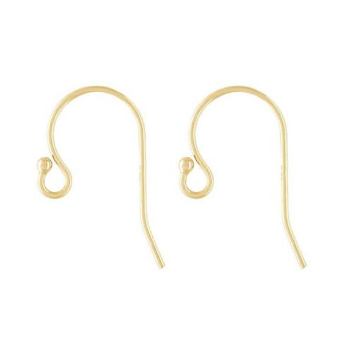 Ball tip ear wire earring 14k yellow gold