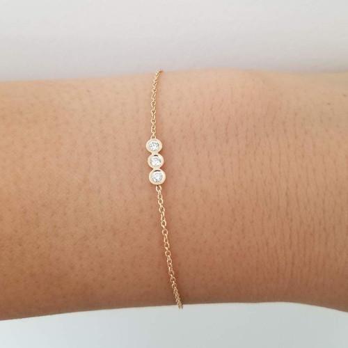 14KY three bezel diamond bracelet