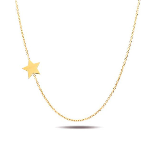 Asymmetrical star necklace 14K yellow gold