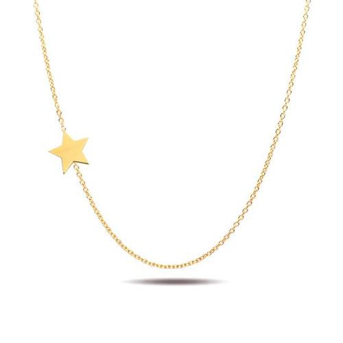 Asymmetrical star necklace 14K yellow gold