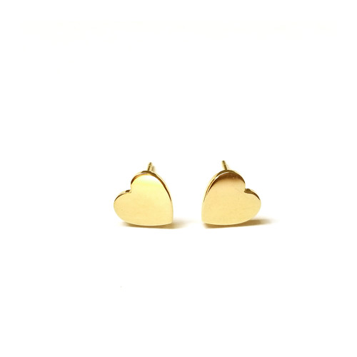 14k gold engraved hearts stud earrings