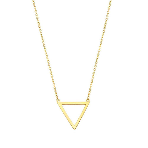14K yellow triangle pendant necklace