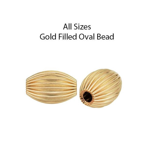 Gold Filled Oval Corrugated Beads