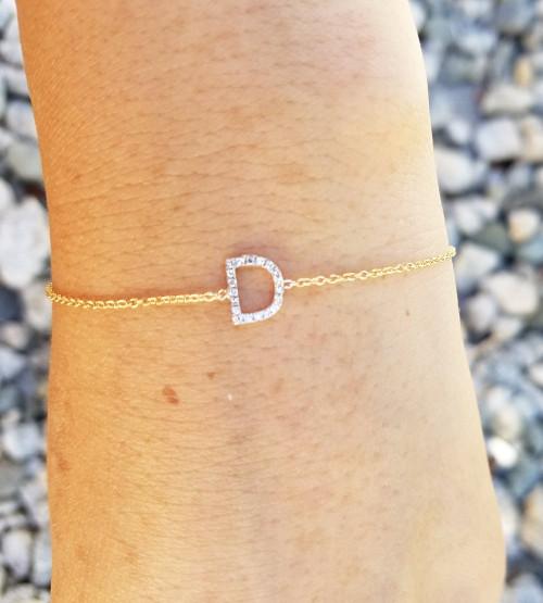 14K Yellow Gold Diamond initial bracelet