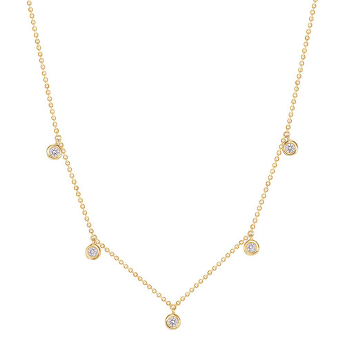 Drop bezel diamond necklace 14k yellow gold