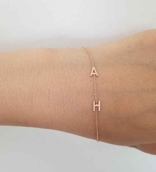 Double Initials Bracelet 14K Yellow Gold