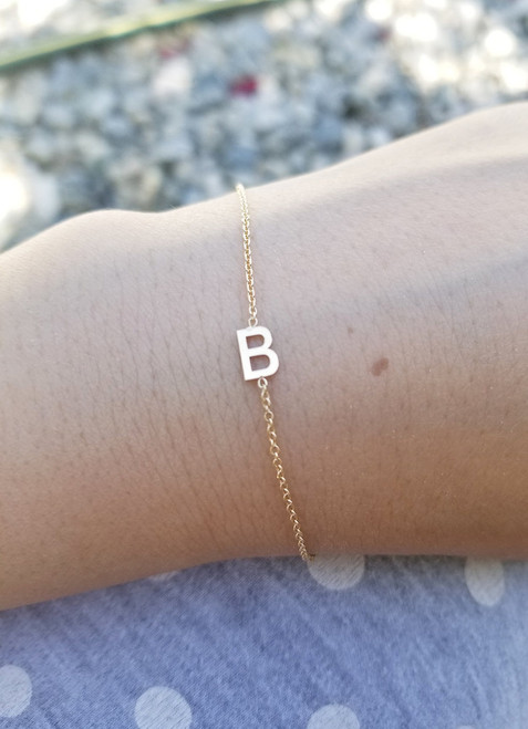 Single Initial Bracelet 14K Gold