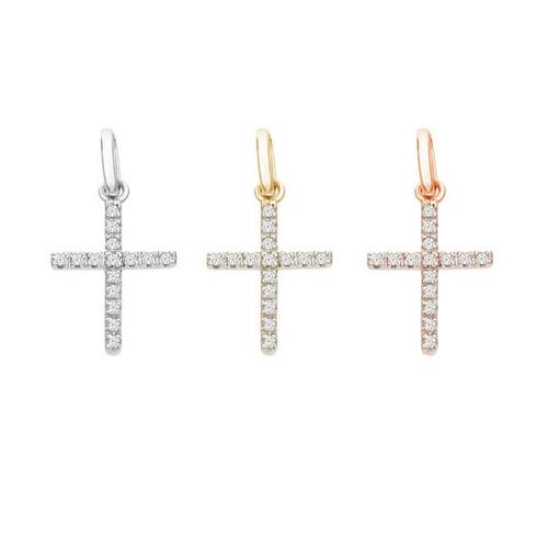 14K Diamond Cross Charm For Necklace / Bracelet