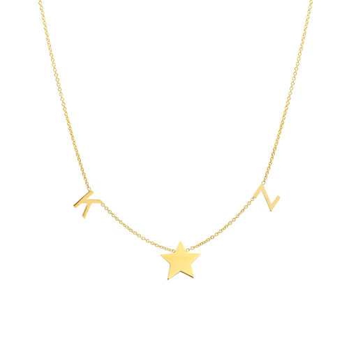 14K yellow gold space letter and star necklace