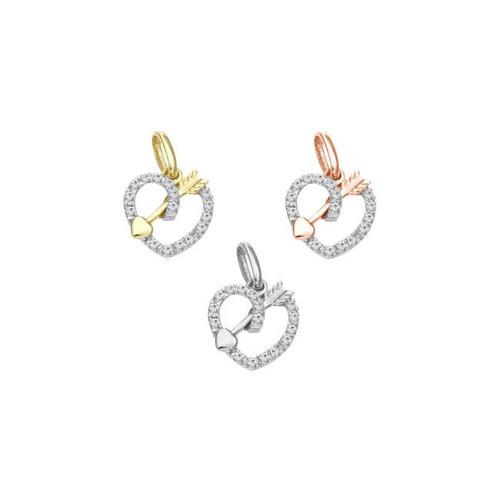 14K Arrow Diamond Heart Charm For Necklace