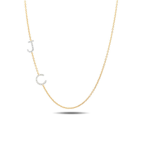 diamond asymmetrical initials necklace
