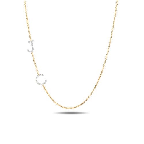 diamond asymmetrical initials necklace