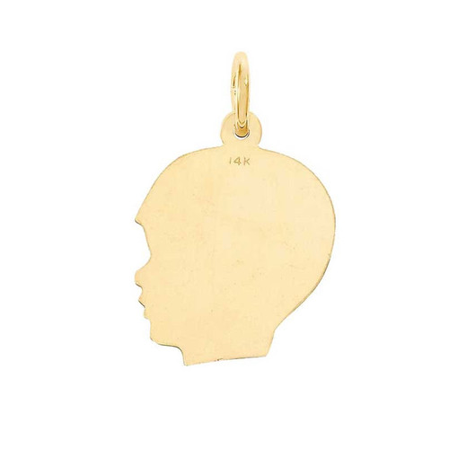 14K Yellow Gold Boy Head Profile Charm Necklace