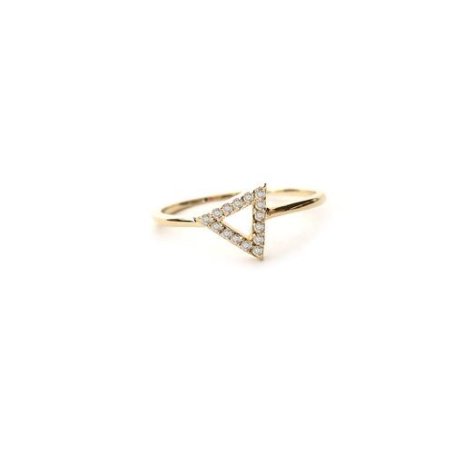 Triangle Diamond Ring 14K Yellow Gold