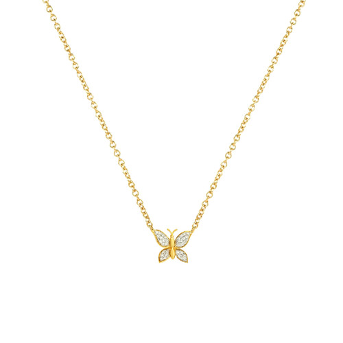 Diamond butterfly necklace 14K Yelow Gold