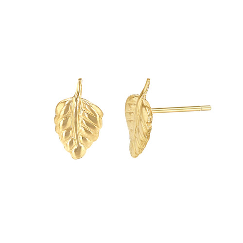 Tiny leaf stud earrings