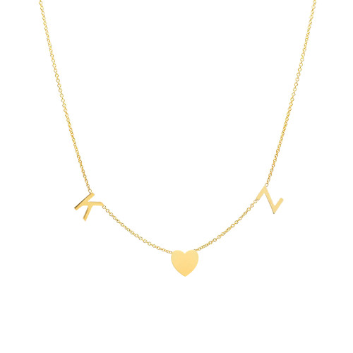 14K yellow gold space letter and heart necklace