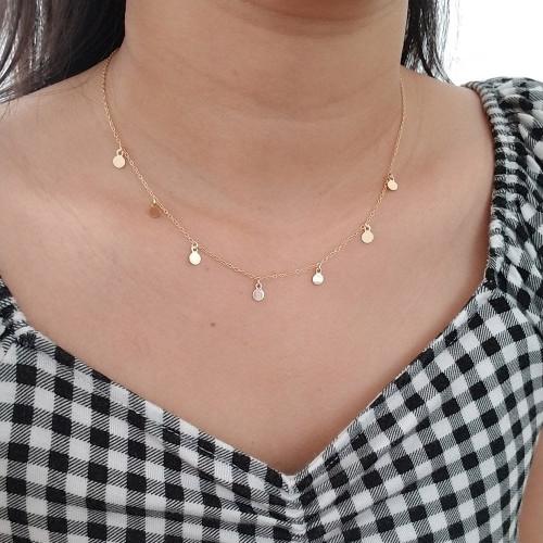 14k gold discs necklace